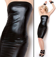SeXy Bandeau Stretch Wetlook Dress Black Patent Leather Look S M L 36 38 40