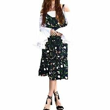 Style Floral Pattern Solid Print Sleeveless Ruffled Decorated Dress for Women