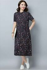Women New Fashion Short Sleeve Floral Printed Vintage Style Large Size Dress
