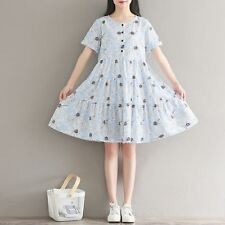 New Fashion Round Neck Floral Printed Casual Short Sleeve Pleated Women Dress