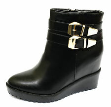 LADIES BLACK WEDGE ZIP-UP WORK CALF COMFY SMART PLATFORM ANKLE BOOTS SHOES 3-8