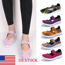 US STOCK! Womens Elastic Band Weave Breathable Leisure Mules Loafers Flats Shoes