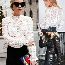 Women Summer Fashion Solid Color Lace Long Sleeves Hollow Out Blouse