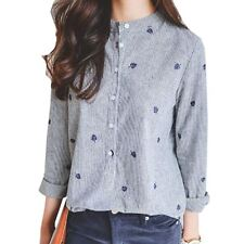 Long Sleeve Striped Pattern Turn Down Collar Casual Blouse For Women