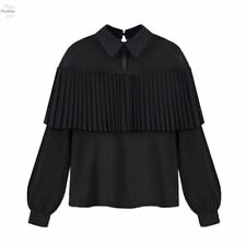 Summer Pleated Ruffle Long Sleeve Black White Color Blouse For Women