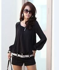 Plus Size Long Sleeve Round Collar Rivet Decorated Blouse For Women