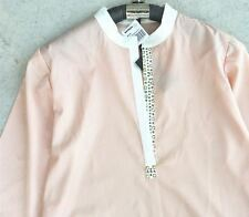 Print Stand Collar Geometric Pattern Long Sleeve Casual Blouse For Women