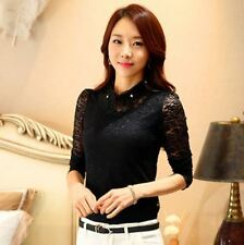 Spring Elegant Peter Pan Collar Long Sleeve Casual Lace Blouse For Women