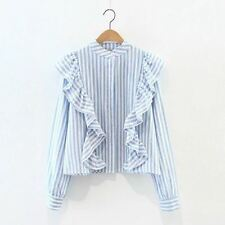 Striped Pattern Ruffle Decorated Stand Collar Fashionable Blouse For Women