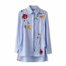 New Fashion Embroidery Loose Cotton Long Sleeve Turn-down Collar Women Shirt