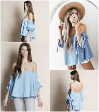 New Fashion Summer Casual Off Shoulder Puff Sleeve Blouse For Women