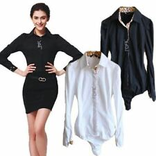 Solid Color New Fashion Long Sleeve Collar Blouse Blouse S-m-l-xl