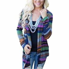 Long Sleeve Striped Open Stitch V Collar Casual Cardigan For Women
