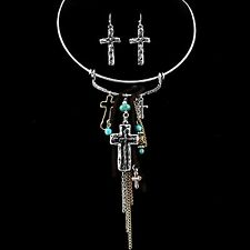 Western Cowgirl Fleur De Lis Cross Horse Chains Turquoise Charms Choker Earring