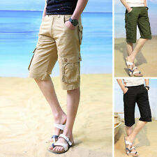 Summer Casual Mens Cargo Shorts Pants Cotton Solid Beach Short Pants Trousers