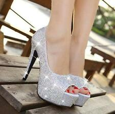 Ladies Platform Pump Open Toe High Heels Crystal Bridal Wedding Party Prom Shoes