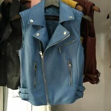 New Style Pu Leather Material Turn-down Collar Sleeveless Jacket for Women