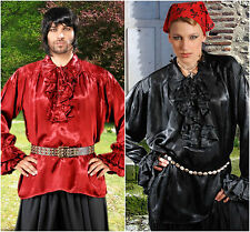 Satin Renaissance Pirate Shirt Loose Fitting Costume