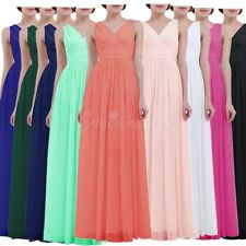 Women Deep V Neck Formal Wedding Bridesmaid Long Dress Evening Party Prom Gown