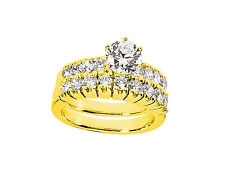 2.25Ct Round Cut Diamond Engagement Ring Wedding Band Set Solid 18k Gold G SI1