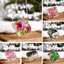 Fashion Women Colorful Resin dried flowers Crystal Pendant Necklace Jewelry Gift