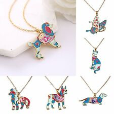 Fashion Charm Jewelry Butterfly Animal Enamel Pendant Chain Plated Gold Necklace