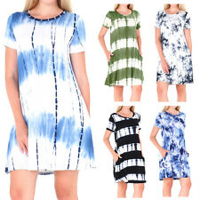 Women's Crow Neck Tie-dye Short Sleeve Tunic Top Swing Loose Dress With Pockets