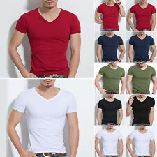 Stylish Men Slim Fit Cotton T-Shirt Short Sleeve Casual O/V-Neck Tops Pullover