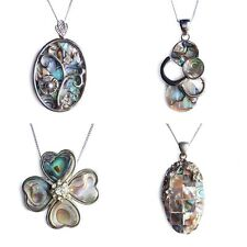 Natural Paua Shell Charm Pendant Necklace Abalone Four Leaf Clover Oval