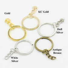 Lot Round Flat Split Key Ring Extend Chain Keychain Bag Charm Keyfob Finding