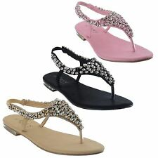 LADIES FLAT DIAMANTE TOE POST SLINGBACK WOMENS PEARL DRESSY PARTY SANDALS SIZE
