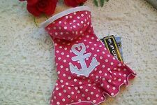 PINK POLKA-DOT ANCHOR Hoodie Dog Dress XS Pup Crew New Pet clothes doggy xsmall
