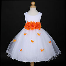 White/Orange Party Recital Wedding Flower Girl Dress 6M 12M 18M 2 3/4 5/6 7/8 10
