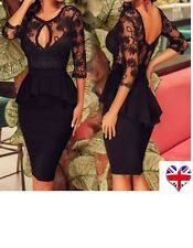 Womens VNeck Floral Lace Bodycon Peplum Cocktail Party Midi Pencil Dress8-10-12❤