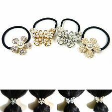 Pearl Flower Butterfly Crystal Rhinestone Ponytail Holder Hair Tie Rope Ring New