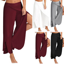 Summer Women Flowy Layered Wide Leg Pants Casual Yoga Cotton blends Trousers 2XL