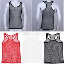 Muscle Comfy Mesh sheer Mens Vest Sleeveless T-Shirt Tank Top Singlet Underwear