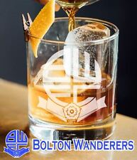 Hand Made - Bolton Wanderers F.C. BWFC etched Engraved Whisky tumbler Glass Gift