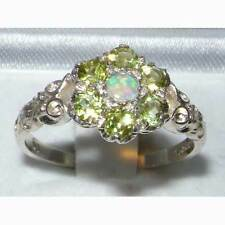 Victorian Ladies Solid Sterling Silver Natural Fiery Opal & Peridot Daisy Ring