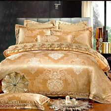 4pc. Luxury Gold Silk Cotton Jacquard Queen King 500TC Duvet Cover Bed Set