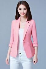 Pink Color Three Quarter Sleeved Plus Size Casual Slim Blazer For Women