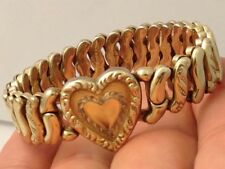 "LA MODE ""PRECIOUS METAL"" GOLD FILLED? ETCHED REPOUSSE HEART BRACELET 071717dE"