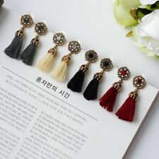 Fashion Women Jewelry Bohemian Ethnic Crystal Tassels Fringe Dangle Earrings