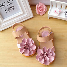 Fashion Girls Baby Kids Flower sandals Princess Shoes Toddler Flat Shoes Pink
