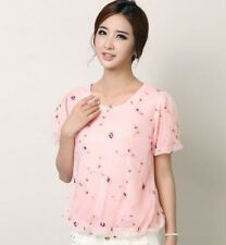 New Fashion Short Sleeve Lace Loose Round Neck Floral Women Chiffon Blouse