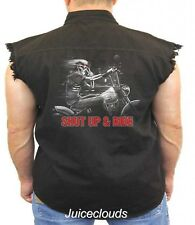 Biker Sleeveless Denim Vest Shut Up and Ride Freedom Rider Skull Chopper
