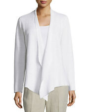 NWT $ 298 Eileen Fisher White Organic Linen Knit Angle Front Jacket 1X 2X L XL