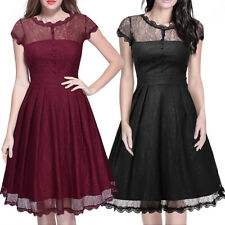 Women Gothic Lolita Lace Short Sleeve Princess Dress Swing Fancy Cosplay Custome