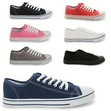 LADIES FLAT CANVAS PLIMSOLE PUMPS SNEAKERS LACE UP WOMENS TRAINERS SIZES UK