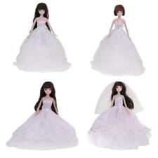 Princess Wedding Party Handmade Dress Clothes Gown+Veil/Hat for Barbie Doll